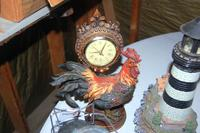 Lantern, Rooster Clock, Lighthouse, Pitcher, and a Vase