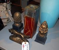 Finials, Dog Figurine and Handmade Candle