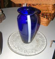 Blue and White Glass Vase