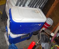 2 Coolers with Wheels, and 2 Beverage Coolers