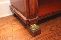 Antique Solid Wood Bookshelf with Marble Top and Brass Accents