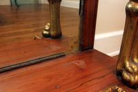 Antique Console Table with Marble Top, Mirrored Back and Gold Leaf Accents