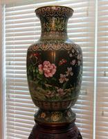 Pair of Metal Urns with Wood Chipendale Style Stands