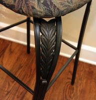 Pair of Metal Bar Height Chairs with Upholstered Seats