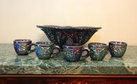 Carnival Glass Punchbowl and 5 Cups