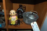 Old Man Figurine, Colander, Tea Pot, and Jug