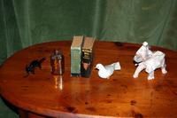 2 Elephant Figurines, 2 Small Books, Bird Figurine, and a Small Bottle