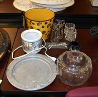 Assorted  Vases, Plate, and Glasses