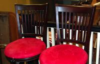 Pair of Matching Wood Barstools with Upholstered Seats