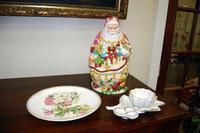 Ceramic Santa Claus Cookie Jar and Porcelain Plates