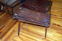 Antique Leather Covered Collapsible Shoe Shine Stand